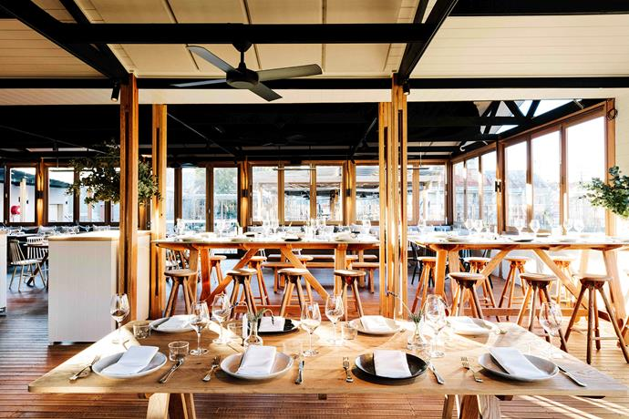 Most of the timbers used at Acre are Australian hardwoods, untreated to weather over time. The tables were made by Rory Unite and the cabinetry by Bay Street Creative.
