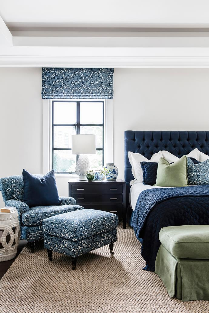 "The soothing tones of deep, dark blue in this serene retreat are the result of an evolving palette. Smart buy: LS Collections Artichoke table lamp, $280, [Zanui](https://www.zanui.com.au/|target=""_blank""