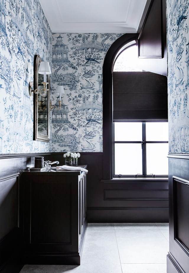 In the traditional-style bathroom of this [Eastern Sydney home](http://www.homestolove.com.au/refined-sydney-family-home-by-lynda-kerry-interior-design-5383), rich, dark cabinetry is expertly contrasted against oriental China-blue wallpaper. *Photo: Maree Homer / Australian House & Garden*