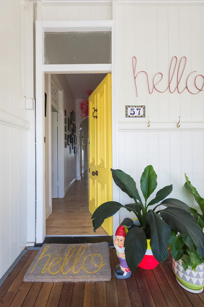 "This sunshine door says a big hello to those knocking on it at this [Queenslander-style cottage transformed with colour](http://www.homestolove.com.au/queenslander-cottage-renovation-4061|target=""_blank"")."