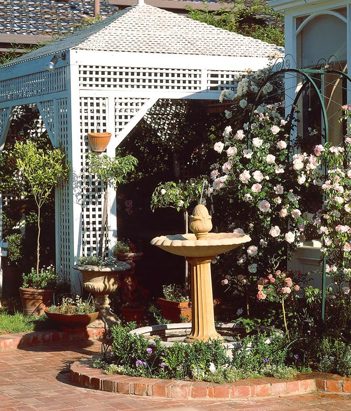 A rose-covered arbour will add height and depth.