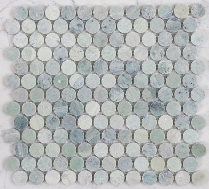 LT84559 Ming Green marble, 305mm x 287mm, $39 per sheet, from Di Lorenzo Tiles.