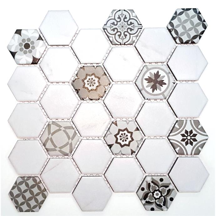 Coulson white and pattern hexagon, 312mm x 326mm, $22.58, from Bunnings.