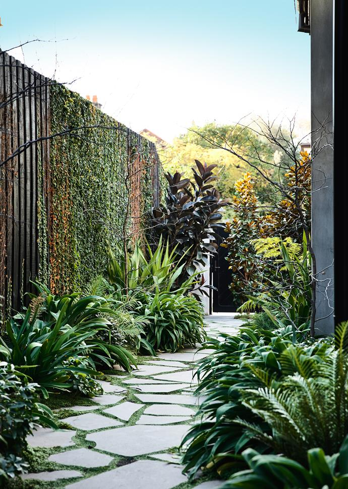 A beautifully landscaped pathway leads visitors to the home's new side entrance.