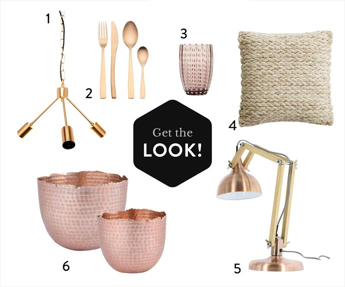 1. Cafe Lighting & Living Elie **pendant light**, $149.95, from Zanui. 2. Charm **cutlery set** in Copper, $79 for 16 pieces, from Freedom. 3. Perle **tumbler** in Amethyst, $90 for set of 2, from Casa e Cucina. 4. Pasadena Plait **cushion**, $99, from MJG Store. 5. Sleuth table **lamp** in Copper, $158, from Matt Blatt. 6. IDC hammered metal **bowls** in Copper,  $82.95 for 2, from Temple & Webster.