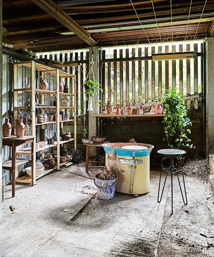Nicolette's studio is underneath her Queenslander home. It's full of her ceramics, all based on reimagined ancient forms.
