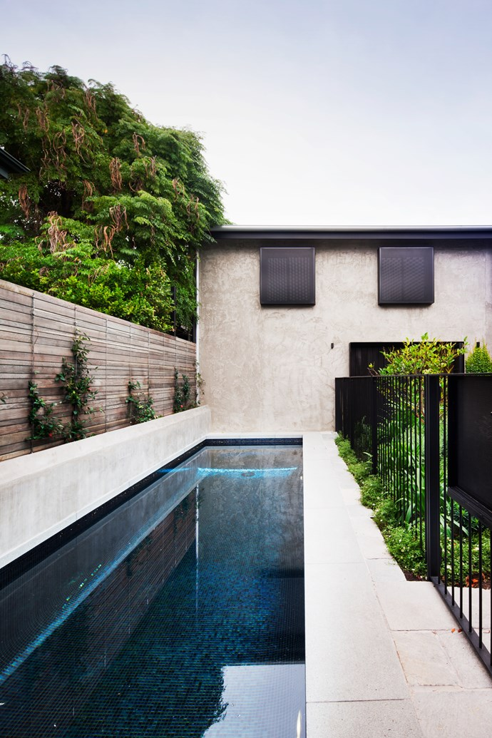 The pool fence plays back into the garage's steel windows at this Melbourne home by designed by Anne Hindley. The garden has been designed by Kate Seddon. *Photograph*: Shannon McGrath. From *Belle* May 2017.