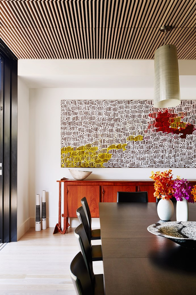A painting by Minnie Pwerle presides over the space. The Sol Shapiro credenza is a piece Zorita's parents commissioned in the 1960s.