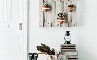 DIY pallet pot-plant hanger