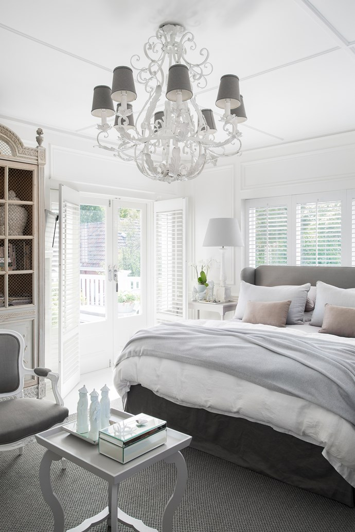 Modulated shades of grey create a soothing, sophisticated palette in the main bedroom.
