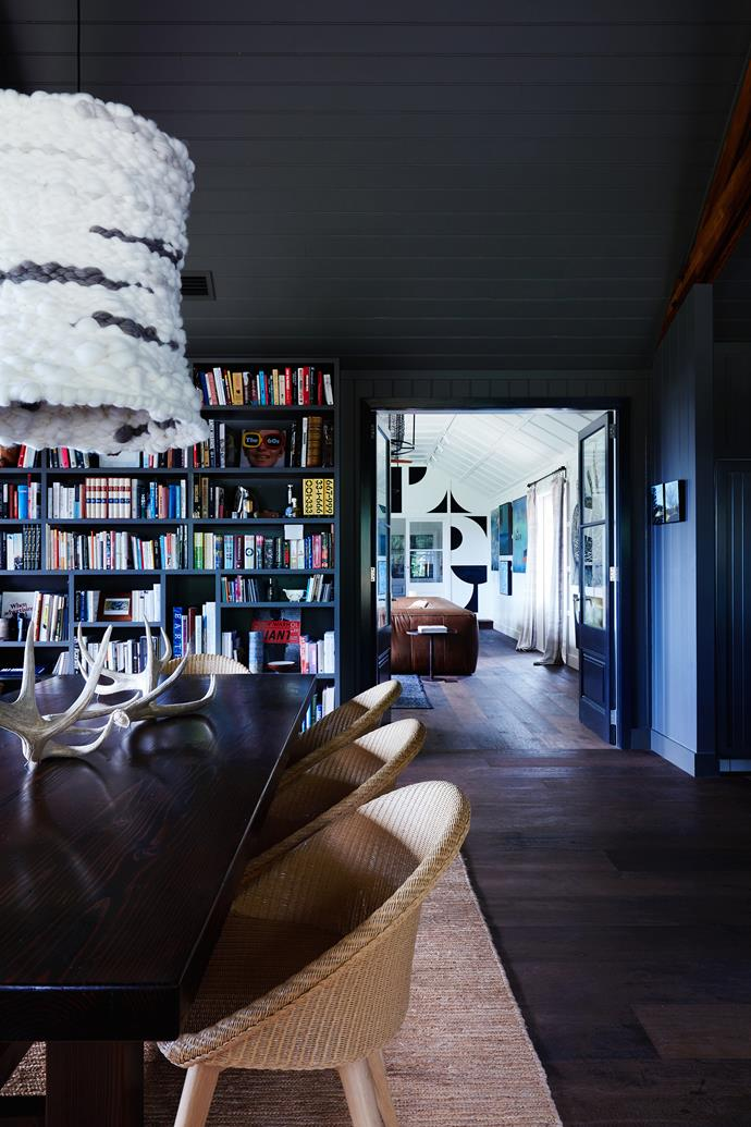 A Natalie Miller wool pendant hangs above the Oregon dining table by Colin Munro. Chairs from Cotswold InOut Furniture.