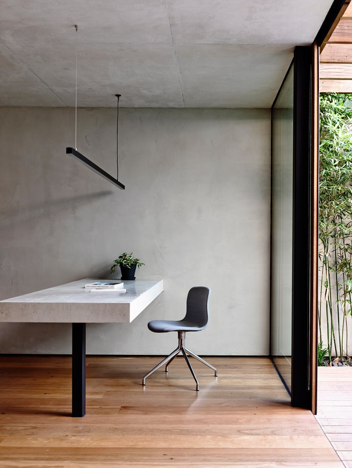 Ray Demkiw of Schulberg Demskiw Architects created a light-filled and spacious study space in this Melbourne home. Stone by Moona Williamson. 'About  a Chair' desk chair by Hee Welling for Hay. *Photograph*: Derek Swalwell. From *Belle* June/July 2015.