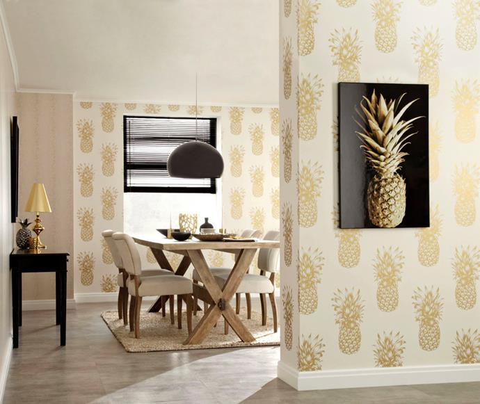 Wall Candy Tropical Moroccan Copper wallpaper, $89 for 10m roll, from Wall Candy Wallpaper.