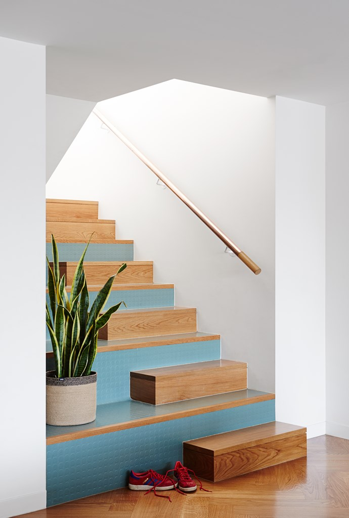 Applied to the risers, teal-coloured Pirelli rubber flooring makes the central staircase a feature. For similar rubber flooring, try PRF Group.