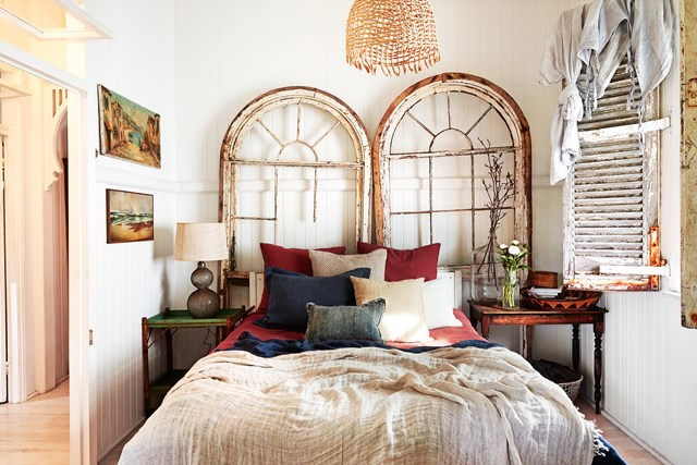 Handcrafted pieces are a must in any bohemian space. Take this [enchanting bedroom in an old Brisbane workers' cottage](http://www.homestolove.com.au/kara-rosenlunds-enchanting-brisbane-workers-cottage-5590) where the woven light shade was made by artist Harriett Goodall, and vintage doors frame the bed.