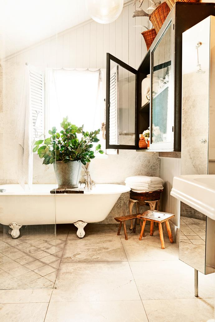 A steal In the bathroom, the claw-foot bathtub was found in the local newspaper for $100, then re-enamelled.