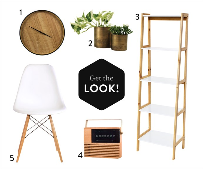 1. Clyde clock in Black, $79.95, from Freedom. 2. Elsie brushed aluminium planter in Gold, from $34.95, from Sheridan. 3. Bailey 5-tier shelf, $49, from Target. 4. Areaware radio iPhone dock, $39.95, from Until. 5. Replica Eames DSW side chair in White, $58, from Matt Blatt.