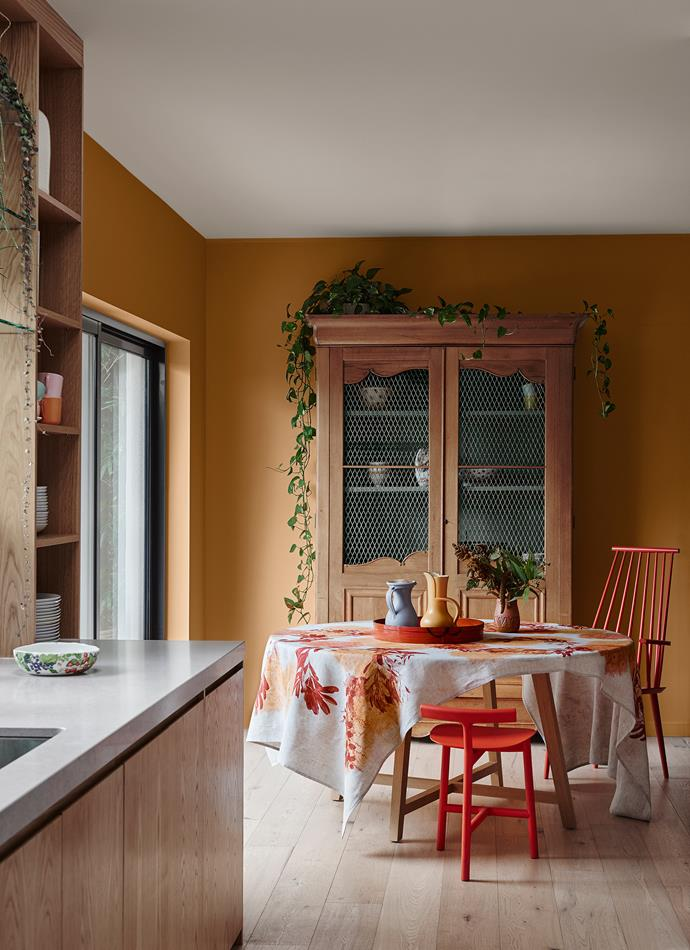 Wall – Dulux Red Ochre | Inside Cabinet – Dulux Hildegard | Ceiling – Dulux Natural White. *Dulux Colour Trends 2018 – Kinship Palette. Styled by Bree Leech. Photographer: Lisa Cohen*