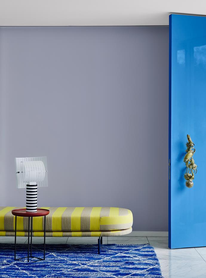 Wall – Dulux Purple Balance | Door – Dulux Blue Sail | Trims and Ceiling – Dulux Vivid White. *Dulux Colour Trends 2018 – Escapade Palette. Styled by Bree Leech. Photographer: Lisa Cohen*