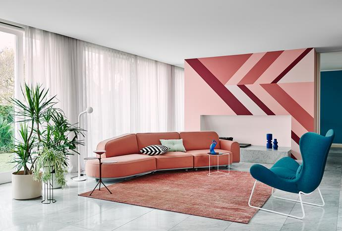 Feature wall – Dulux Cuticle Pink, Bombay Pink, Friends and Carmen | Trims and ceiling – Dulux Vivid White. *Dulux Colour Trends 2018 – Escapade Palette. Styled by Bree Leech. Photographer: Lisa Cohen*
