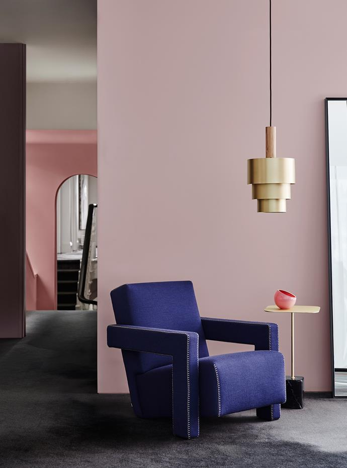Wall Front – Dulux Smokey Quartz | Wall Left – Dulux Bruised Burgundy | Wall Rear – Dulux Terra Rose. *Dulux Colour Trends 2018 – Reflect Palette. Styled by Bree Leech. Photographer: Lisa Cohen*