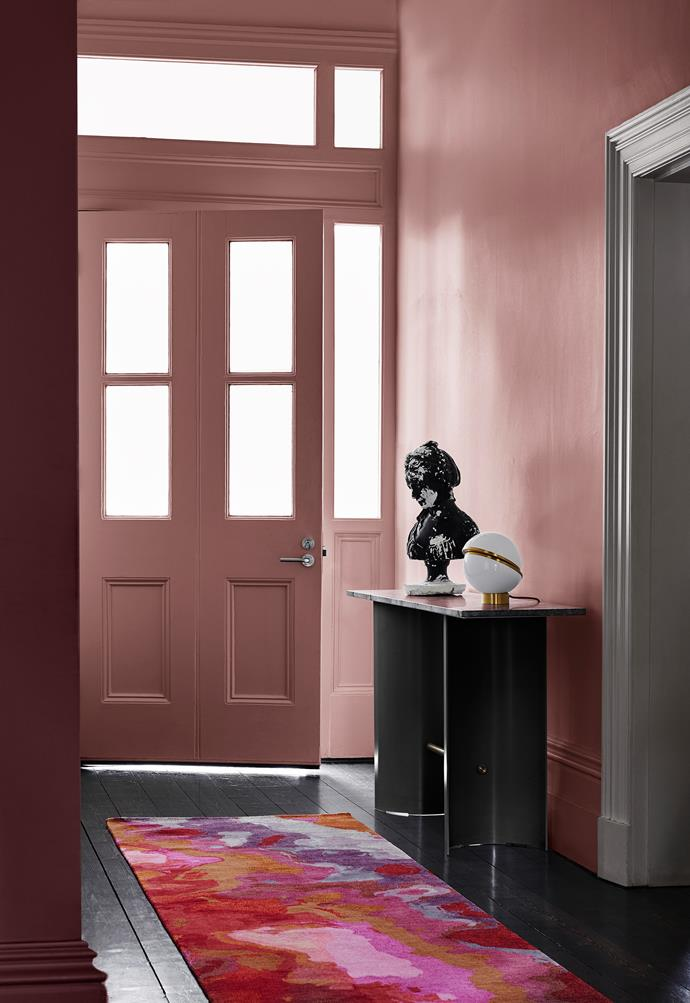 Wall Right – Dulux Terra Rose | Door and Surround – Dulux Terra Rose | Wall Left – Dulux Rose Pink Villa | Trim – Lexicon Half. *Dulux Colour Trends 2018 – Reflect Palette. Styled by Bree Leech. Photographer: Lisa Cohen*