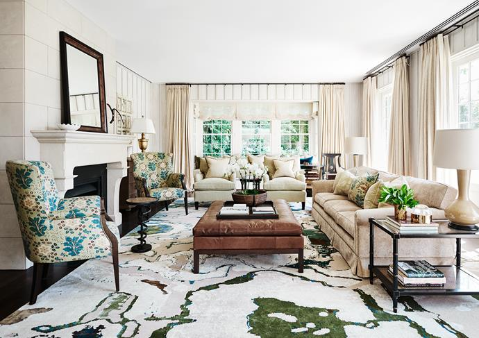 A custom sofa and armchairs by Adelaide Bragg in Domus Textiles fabrics. Custom leather ottoman by Adelaide Bragg. Side table from Cromwell. Lamp bases by Adelaide Bragg. Custom rug by Behruz.