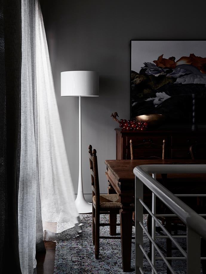In the dining room, Flos 'Spun' light from Euroluce with a rug from Loom.