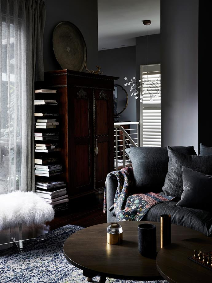 Jardan 'Cleo' sofa, Jonathan Adler Mongolian lamb bench from Coco Republic, and Moooi 'Heracleum' pendant light from Space.