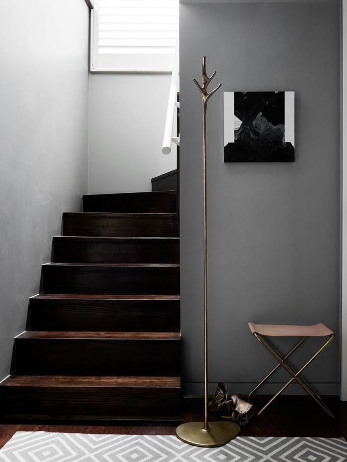 'Lovelock' coat stand by Daniel Barbera, Douglas & Bec folding stool and Sean Bailey artwork.