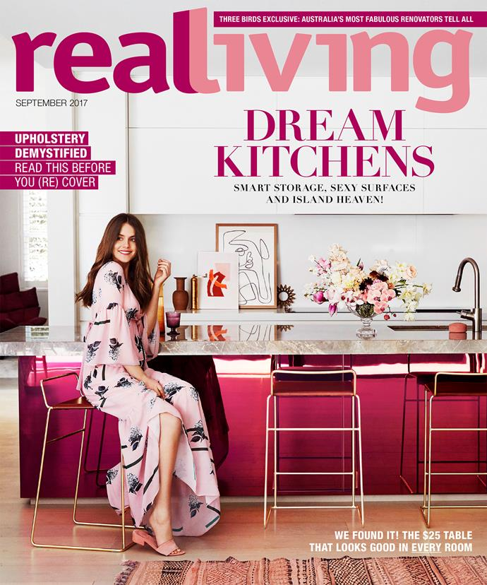 "The September cover of *real living* features a [millennial pink kitchen](https://www.homestolove.com.au/dusty-pink-kitchen-renovation-19122|target=""_blank""). *Photography: Steven Chee 