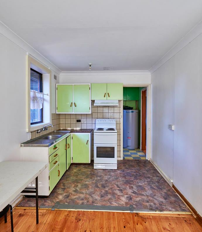 This tired, old apartment kitchen was in dire need of a modern update and that lino flooring had to go!