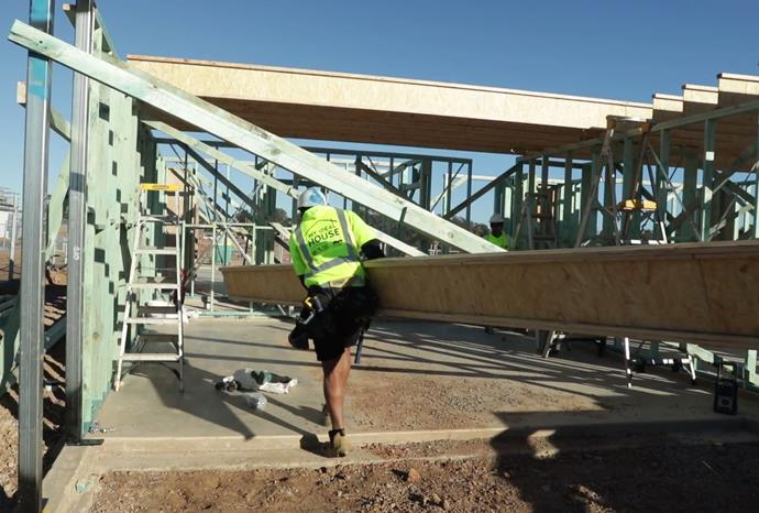 """**AUGUST 28, 2017: INTO THE FRAME** <br><br>  There's movement aplenty on the My Ideal House site this week, with the home's steel and timber frame being installed. """"We have a team of carpenters ready to go; it should take them four or five days to complete this step of the build process,"""" says Roderick Petre, NSW Operations Manager for Mirvac.  <br><br> Getting the frame up is a straightforward task, he says. The first floor goes up in its entirety, then the second floor and roof trusses. """"Once the frame is complete the Hebel external cladding can be put in place,"""" says Rod. """"Through September, the appearance of the home will really begin to take shape."""""""