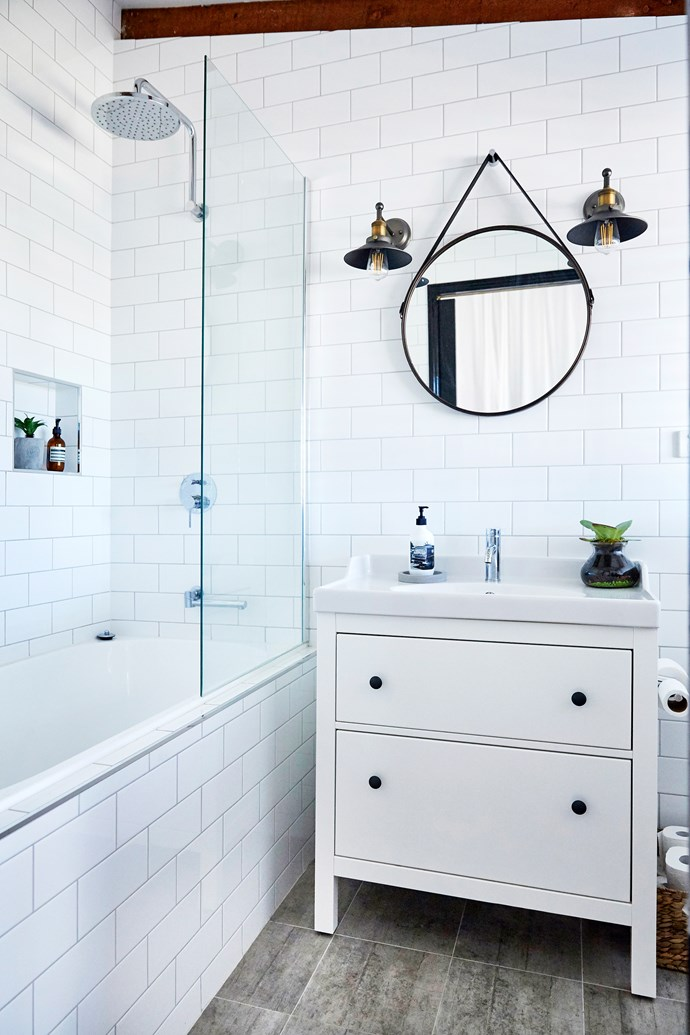 Combining the bath and shower during this room's reno made space for a large vanity with lots of storage.