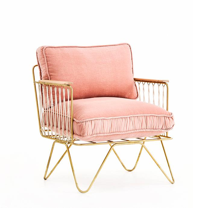 Croisette armchair, $1490, [Bastille & Sons](https://bastilleandsons.com.au/collections/furniture-and-lighting/products/croisette-armchair-velvet).