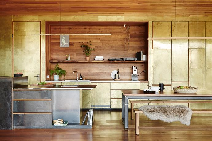 After being wrapped in thin sheets of brass, the joinery was wiped with cider vinegar to create its textural patina.