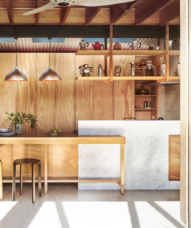 "Who sa a self-built kitchen can't be luxurious? While blackbutt plywood is the main material used in this [sustainable home](https://www.homestolove.com.au/sustainable-home-by-form-architecture-furniture-5702|target=""_blank"") a generous slab of Carrara marble grounds  the room. *Story: Australian House & Garden*"