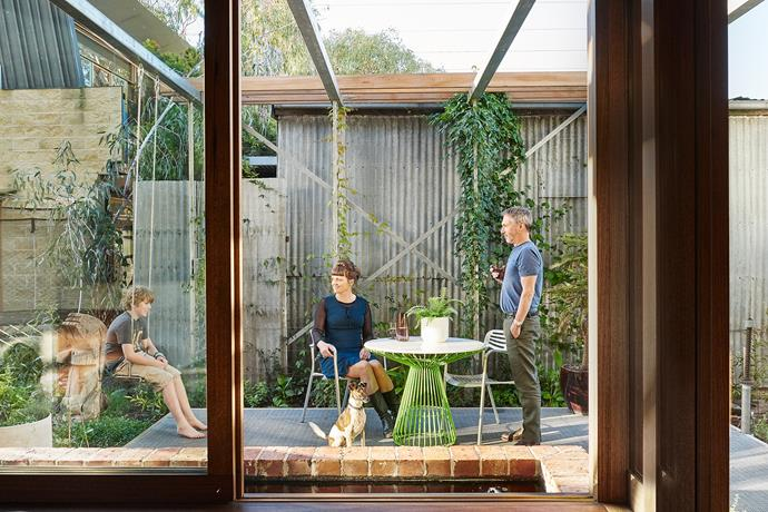 """""""We designed the garden ourselves, but had a landscaper help us with the plant selection and planting,"""" says Tony. The pergola features a roll-out canvas cover for shade in summer. Steel doors were repurposed as trellises for the climbing plants."""