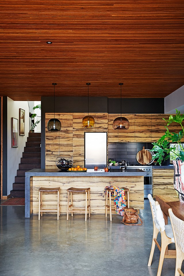 "Timber is certainly the hero material in the kitchen of this [restored and extended Victorian terrace](https://www.homestolove.com.au/restoration-and-extension-of-victorian-terrace-5704|target=""_blank""). The owners sought to use timber to create flow between the old and new sections of the house while adding warmth and depth to concrete elements."