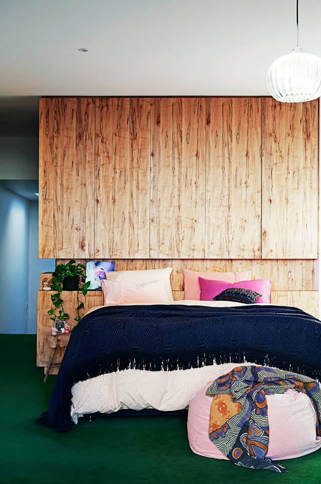 "Textural timber details are found throughout this [renovated Victorian terrace](https://www.homestolove.com.au/restoration-and-extension-of-victorian-terrace-5704|target=""_blank""). This feature wall doubles as joinery and a statement bedhead."
