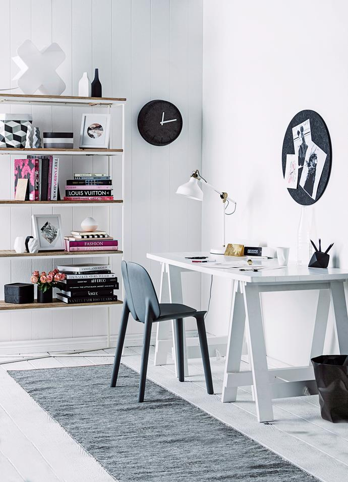 "For more stylish home office ideas, [click here >](http://www.homestolove.com.au/5-creative-home-office-styling-and-storage-ideas-5119|target=""_blank"")"