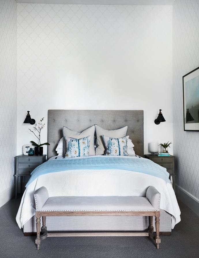 The Sandberg 'Gaston' wallpaper (left) subtly reiterates the trellis theme seen on other wallcoverings. Bedhead, from La Maison. Bench, from Interiors Online.