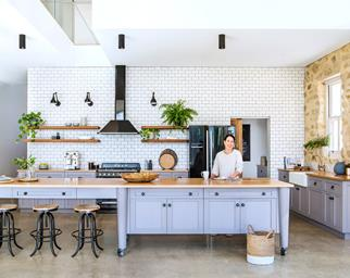 blue country style kitchen