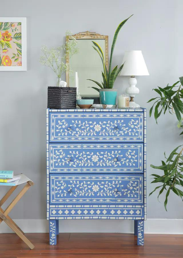 """Photo via [Apartment Therapy](http://www.apartmenttherapy.com/how-to-ikea-hack-a-rast-dresser-bone-inlay-amp-happy-modern-244344