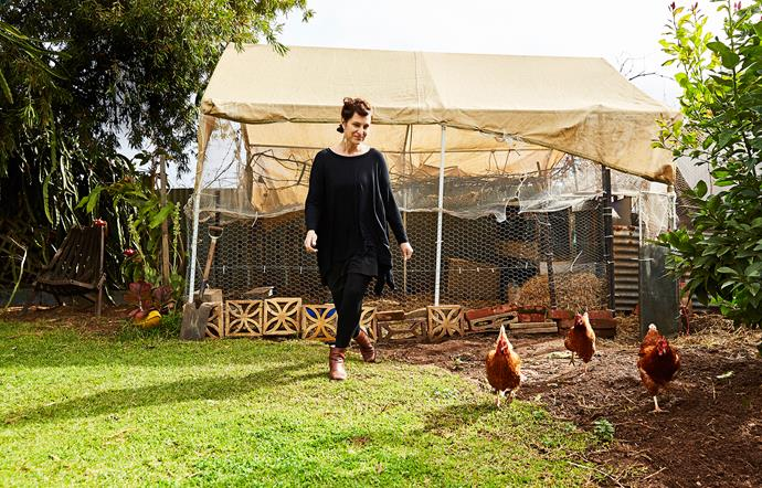 Rachael swaps her chooks' eggs for vegies with the locals.