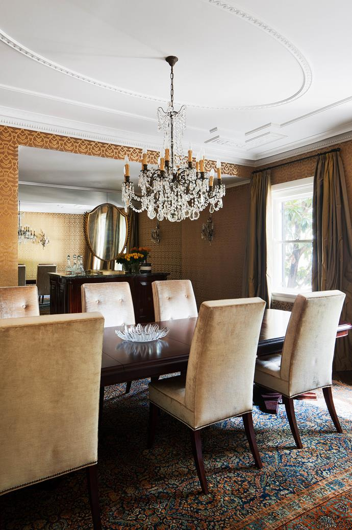 """In the original formal dining room, vintage gilded mirror by Giovanni Gariboldi from [Nicholas & Alistair](http://www.homestolove.com.au/interview-with-gallery-owners-nicholas-and-alistair-3734