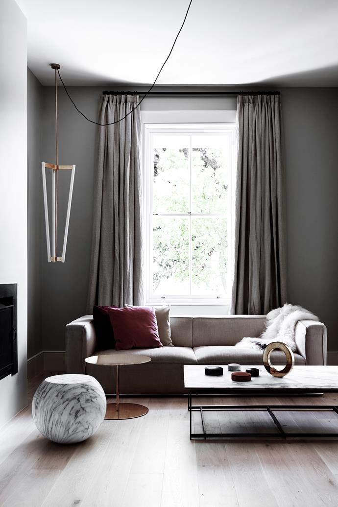 'Tube' chandelier by Michael Anastassiades from Hub. Cappellini 'Bong' side table from Cult.