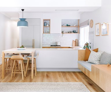 U-shaped kitchen with integrated dining