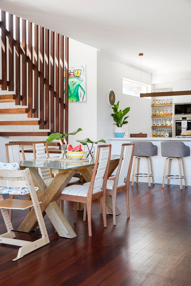 "This [stylish and functional family bungalow](https://www.homestolove.com.au/diy-renovation-of-a-60s-brick-and-tile-bungalow-5799|target=""_blank"") has a timeless feel, thanks to the salvaged jacaranda floors which were been sanded and resealed. *Photo:* Angelita Bonetti"