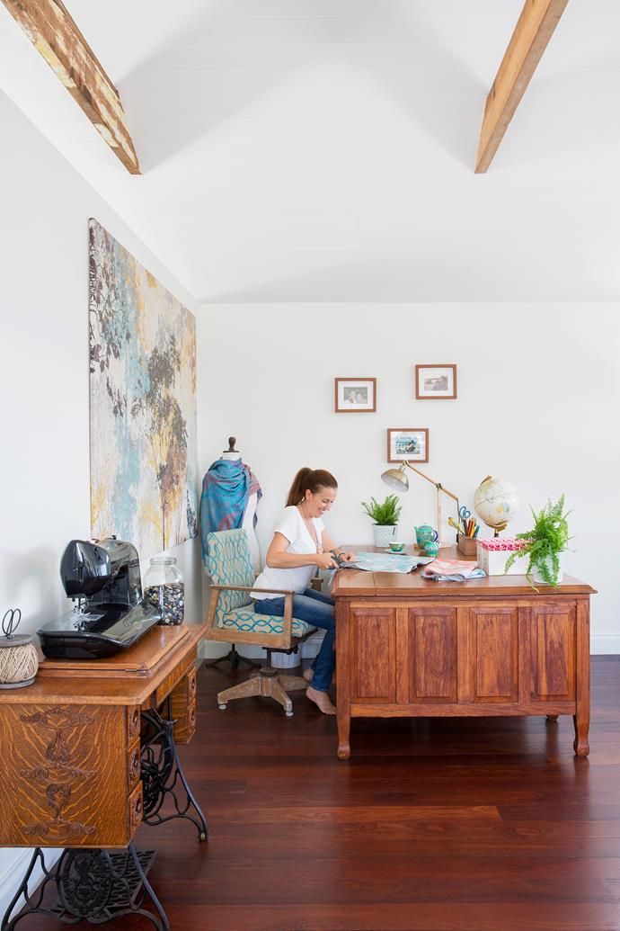 """The craft/study room upstairs is where Georgia comes to """"work"""". It's where she creates many of the soft furnishings and cushions found in their home, along with toys for Jonah."""